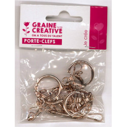 Attaches porte-clefs or rose