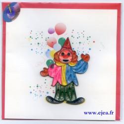 Carte Clown en papier roulé