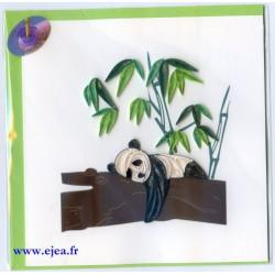 Carte Panda en papier roulé