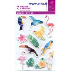 Stickers Effet 3D Oiseaux...