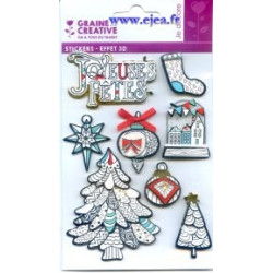 Stickers Effet 3D Hiver Blanc