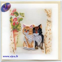 Carte Chats en papier roulé