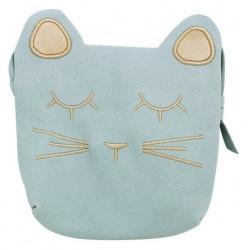 Petit sac tête de chat bleu