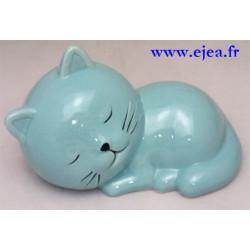 Tirelire chat turquoise