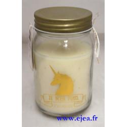 Bougie Mason Jar Licorne dorée
