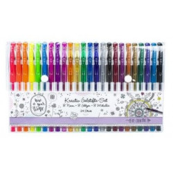 Set créatif de 24 stylos gel