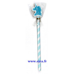 Crayon et gomme licorne bleu