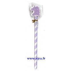 Crayon et gomme licorne violet