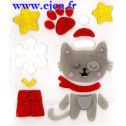 Stickers Gel Déco Chat de Noël