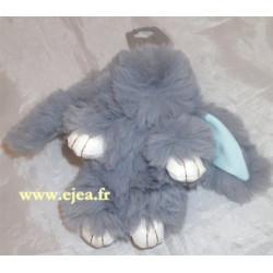 Porte-clé Lapin peluche gris