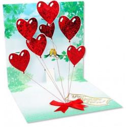 Carte pop-up Ballons coeurs