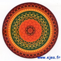 Carte ronde Mandala orange
