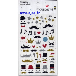 Funny Sticker World Moustache