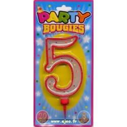 Party Bougie geante chiffre 5