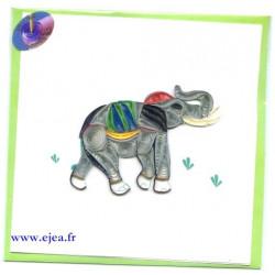 Carte Eléphant en papier roulé