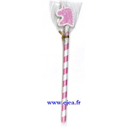 Crayon et gomme licorne rose