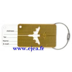 Etiquette de bagage Avion Or