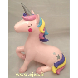 Tirelire Licorne rose assise