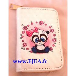 Porte-monnaie Panda et fleurs