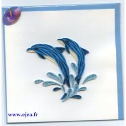 Carte Dauphins en papier roulé