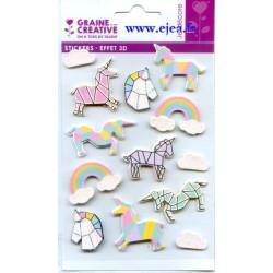 Stickers Effet 3D Licorne