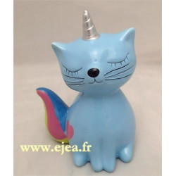 Tirelire Caticorn bleu
