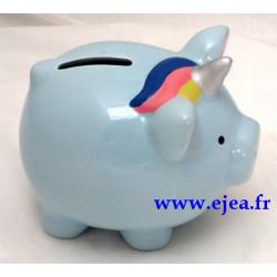 Tirelire Cochon Licorne bleu