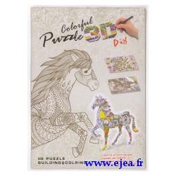 Puzzle 3D à colorier Cheval