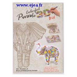 Puzzle 3D à colorier Eléphant
