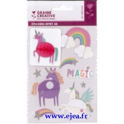 Stickers Effet 3D Licornes