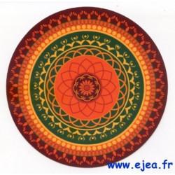 Carte ronde Mandala orange