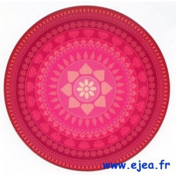 Carte ronde Mandala rose