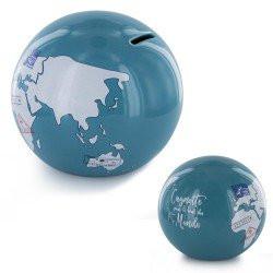 Tirelire Globe Bleu