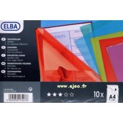 10 pochettes coins A4 ELBA...