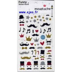 Funny Sticker World Moustache
