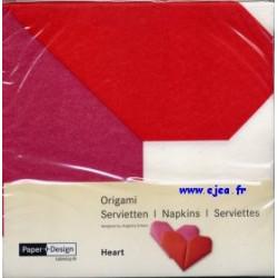 Serviettes Origami Cœur rouge